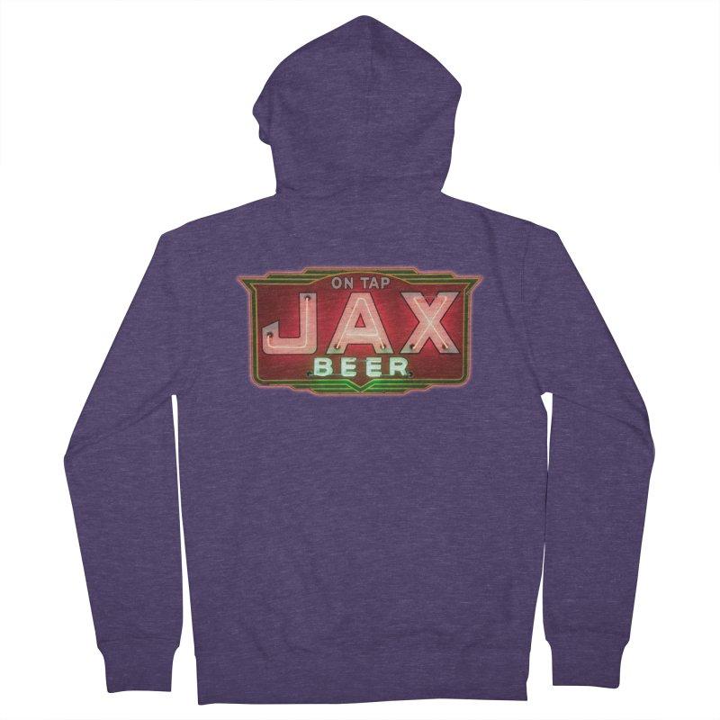 Jax Beer on Tap Vintage Neon Sign Jackson Brewery New Orleans Brewerania Men's Zip-Up Hoody by Fringe Walkers Shirts n Prints
