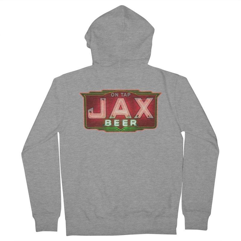Jax Beer on Tap Vintage Neon Sign Jackson Brewery New Orleans Brewerania Men's French Terry Zip-Up Hoody by Fringe Walkers Shirts n Prints