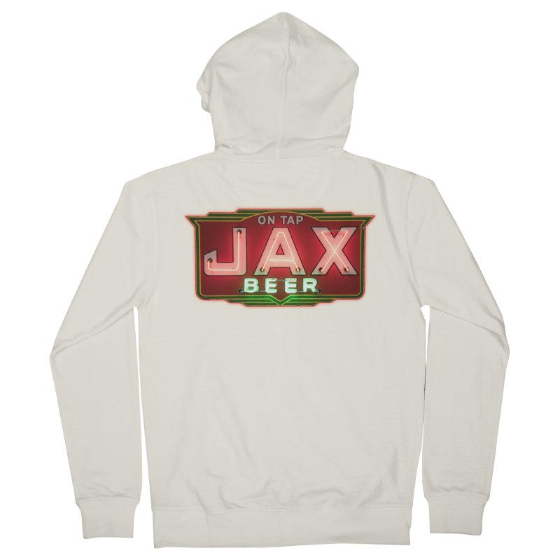 Jax Beer on Tap Vintage Neon Sign Jackson Brewery New Orleans Brewerania Men's French Terry Zip-Up Hoody by Fringe Walkers Shirts n Prints