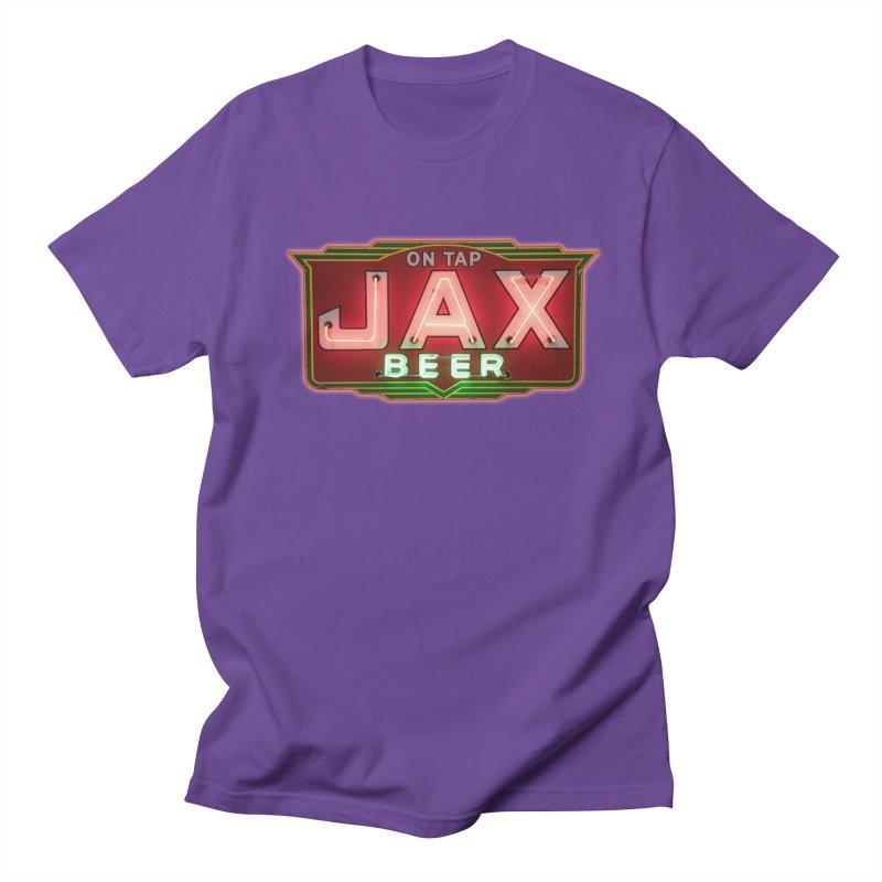 Jax Beer on Tap Vintage Neon Sign Jackson Brewery New Orleans Brewerania Men's T-Shirt by Fringe Walkers Shirts n Prints