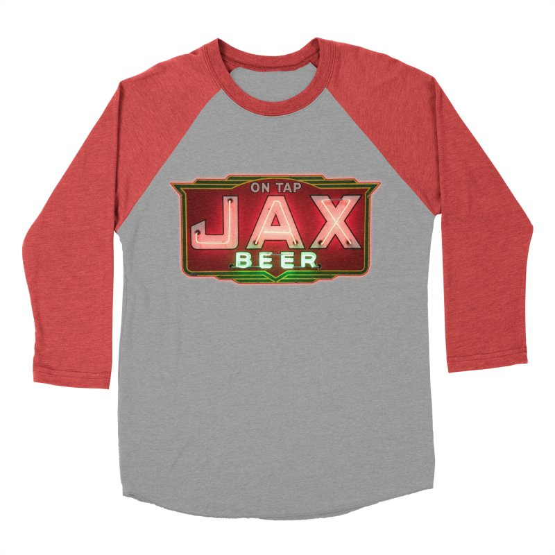 Jax Beer on Tap Vintage Neon Sign Jackson Brewery New Orleans Brewerania Men's Baseball Triblend Longsleeve T-Shirt by Fringe Walkers Shirts n Prints