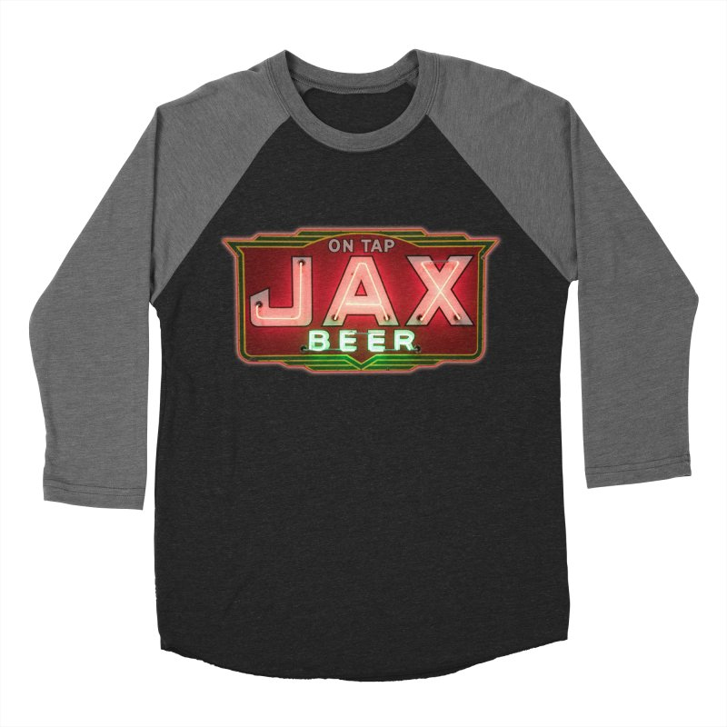 Jax Beer on Tap Vintage Neon Sign Jackson Brewery New Orleans Brewerania Men's Baseball Triblend T-Shirt by Fringe Walkers Shirts n Prints