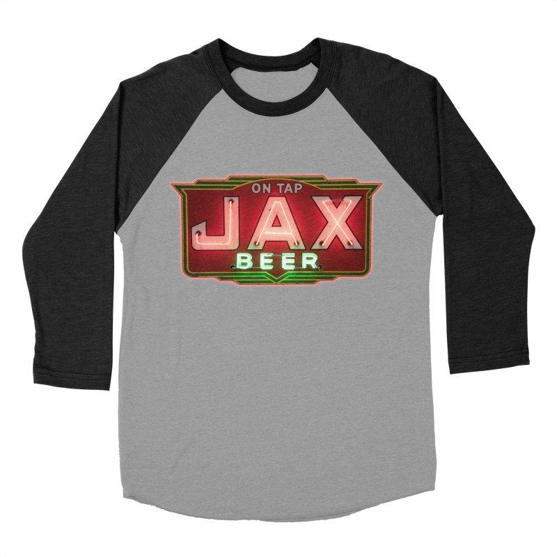 Jax Beer on Tap Vintage Neon Sign Jackson Brewery New Orleans Brewerania Men's Baseball Triblend Longsleeve T-Shirt by Fringe Walkers Shirts n Prints
