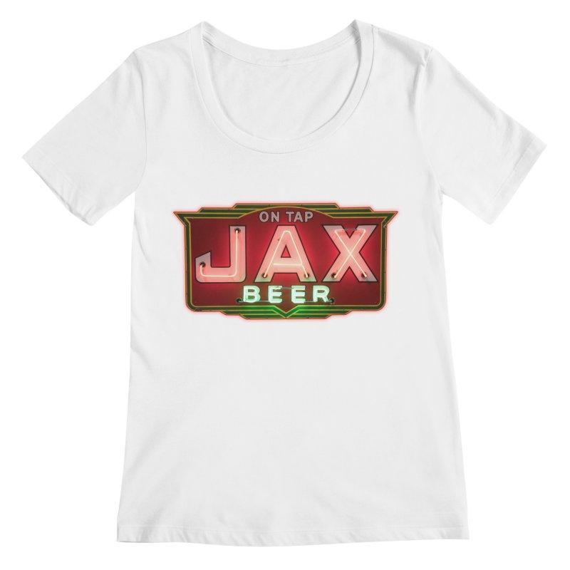 Jax Beer on Tap Vintage Neon Sign Jackson Brewery New Orleans Brewerania Women's Regular Scoop Neck by Fringe Walkers Shirts n Prints
