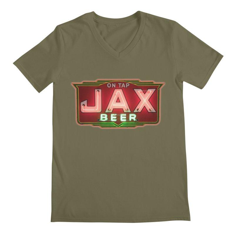 Jax Beer on Tap Vintage Neon Sign Jackson Brewery New Orleans Brewerania Men's Regular V-Neck by Fringe Walkers Shirts n Prints