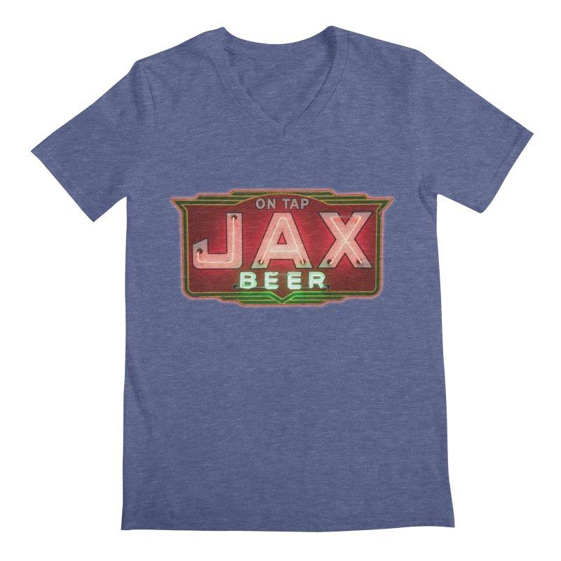 Jax Beer on Tap Vintage Neon Sign Jackson Brewery New Orleans Brewerania Men's V-Neck by Fringe Walkers Shirts n Prints
