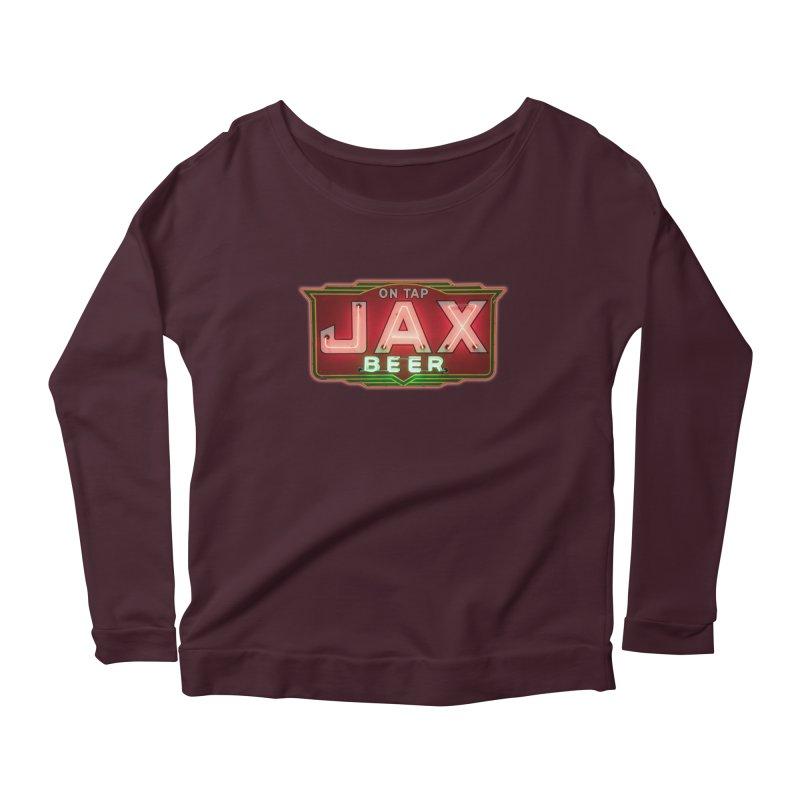 Jax Beer on Tap Vintage Neon Sign Jackson Brewery New Orleans Brewerania Women's Longsleeve T-Shirt by Fringe Walkers Shirts n Prints