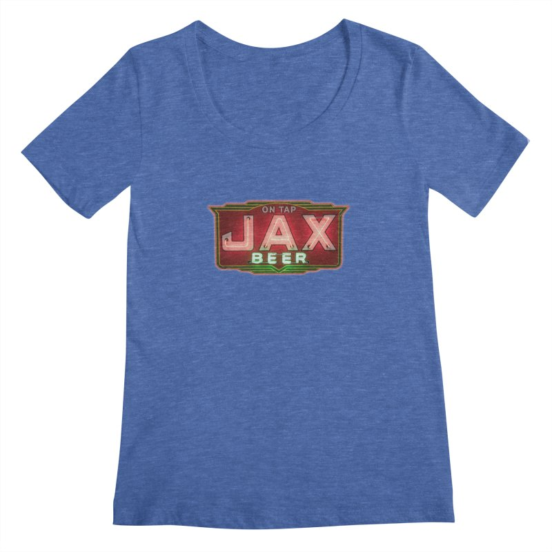 Jax Beer on Tap Vintage Neon Sign Jackson Brewery New Orleans Brewerania Women's Regular Scoop Neck by Fringe Walkers Shirts n Prints