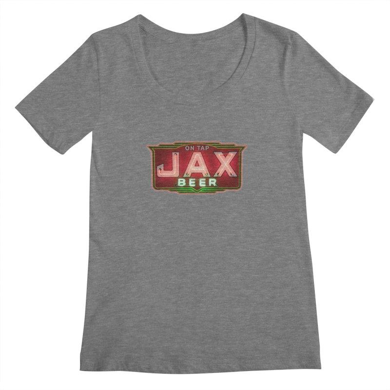 Jax Beer on Tap Vintage Neon Sign Jackson Brewery New Orleans Brewerania Women's Scoopneck by Fringe Walkers Shirts n Prints