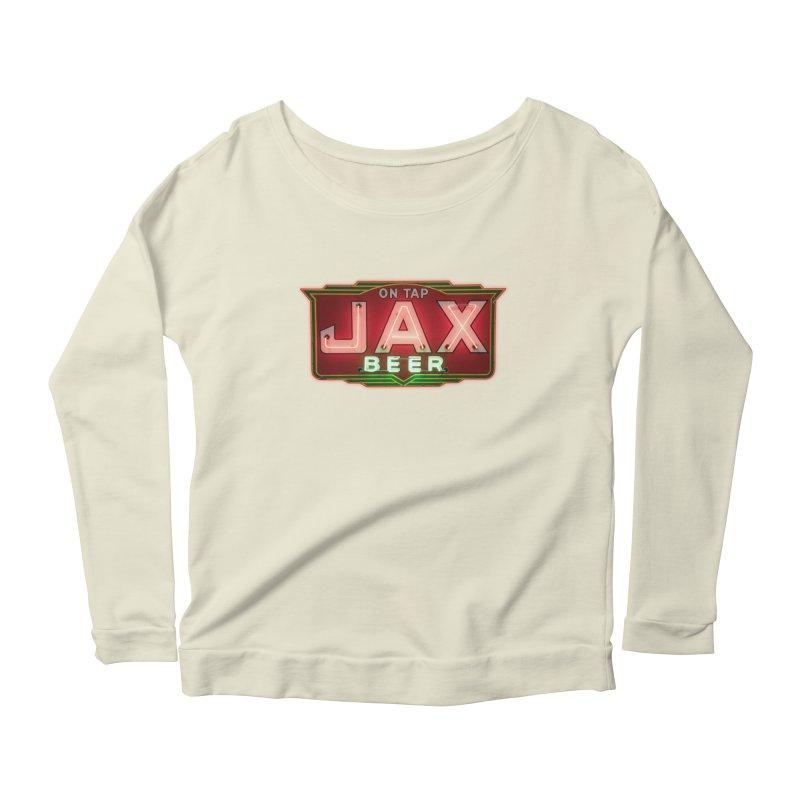 Jax Beer on Tap Vintage Neon Sign Jackson Brewery New Orleans Brewerania Women's Longsleeve Scoopneck  by Fringe Walkers Shirts n Prints