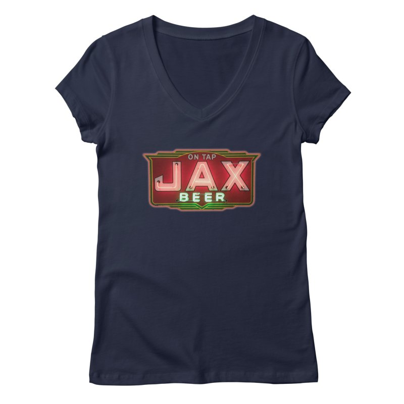 Jax Beer on Tap Vintage Neon Sign Jackson Brewery New Orleans Brewerania Women's Regular V-Neck by Fringe Walkers Shirts n Prints