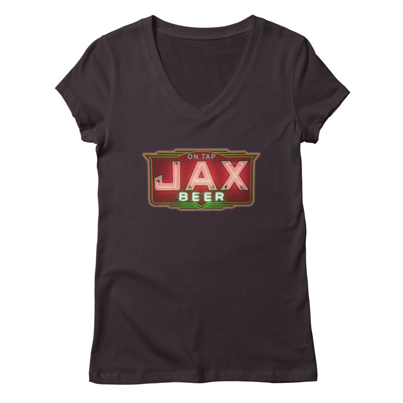 Jax Beer on Tap Vintage Neon Sign Jackson Brewery New Orleans Brewerania Women's V-Neck by Fringe Walkers Shirts n Prints