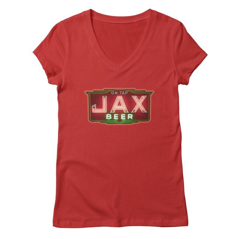 Jax Beer on Tap Vintage Neon Sign Jackson Brewery New Orleans Brewerania Women's Regular V-Neck by Fringe Walkers Shirts n Prints