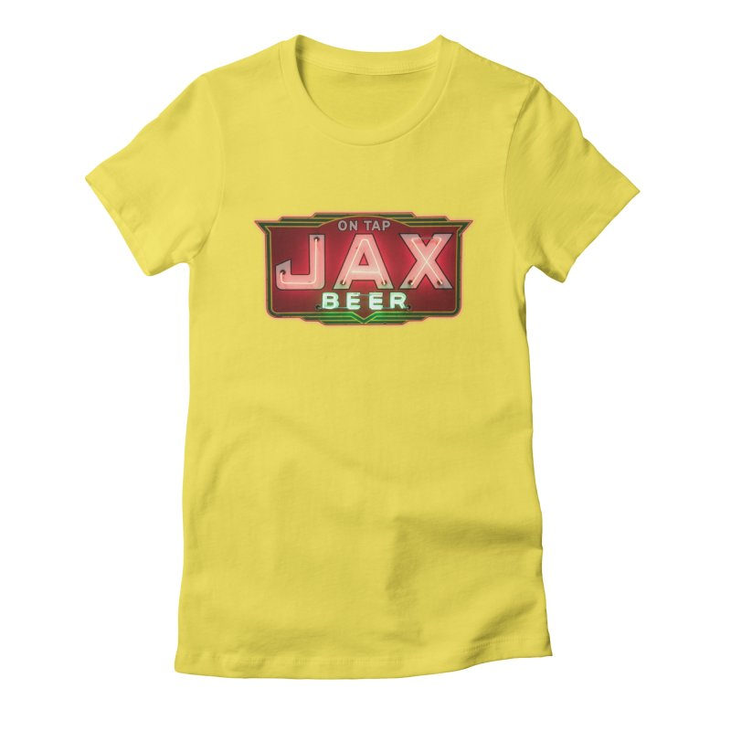 Jax Beer on Tap Vintage Neon Sign Jackson Brewery New Orleans Brewerania Women's Fitted T-Shirt by Fringe Walkers Shirts n Prints