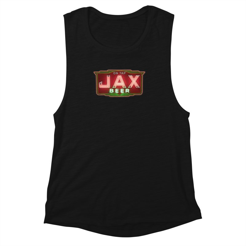 Jax Beer on Tap Vintage Neon Sign Jackson Brewery New Orleans Brewerania Women's Tank by Fringe Walkers Shirts n Prints