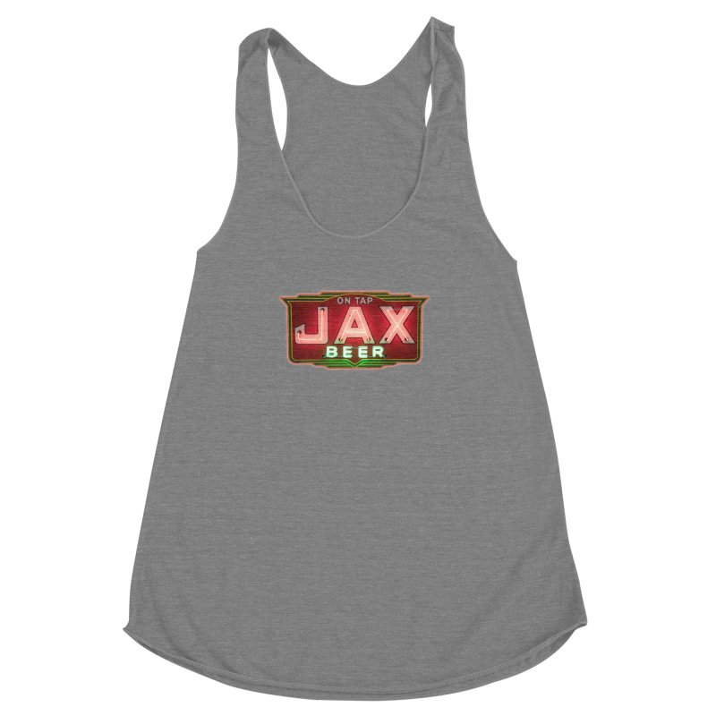 Jax Beer on Tap Vintage Neon Sign Jackson Brewery New Orleans Brewerania Women's Racerback Triblend Tank by Fringe Walkers Shirts n Prints