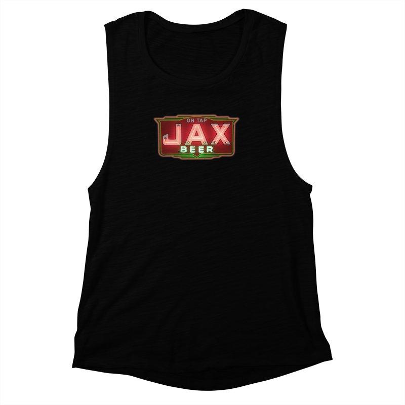 Jax Beer on Tap Vintage Neon Sign Jackson Brewery New Orleans Brewerania Women's Muscle Tank by Fringe Walkers Shirts n Prints