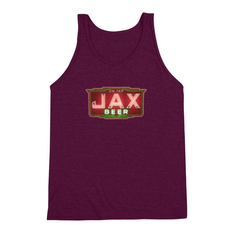 Jax Beer on Tap Vintage Neon Sign Jackson Brewery New Orleans Brewerania Men's Triblend Tank by Fringe Walkers Shirts n Prints