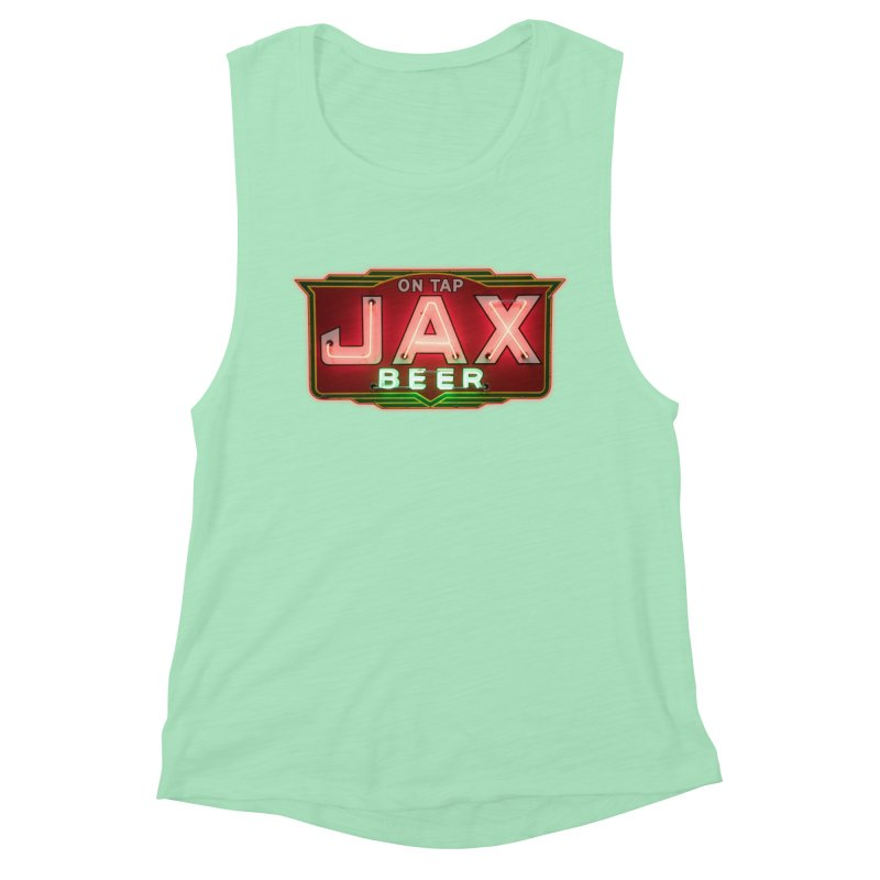 Jax Beer on Tap Vintage Neon Sign Jackson Brewery New Orleans Brewerania Women's Muscle Tank by Fringe Walkers Shirts n Prints