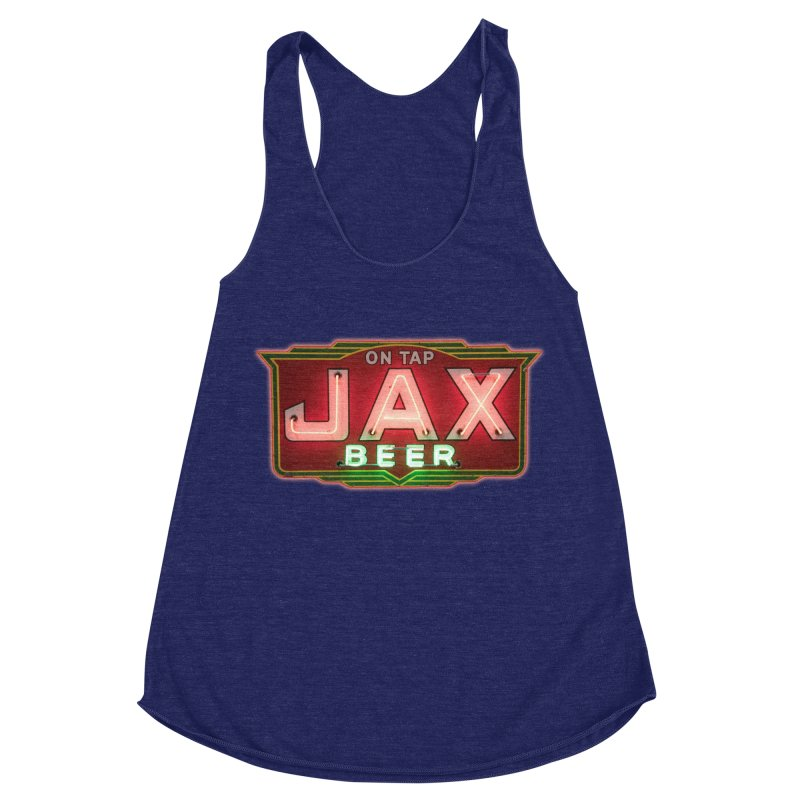 Jax Beer on Tap Vintage Neon Sign Jackson Brewery New Orleans Brewerania Women's Racerback Triblend Tank by Fringe Walkers Shirts n Prints
