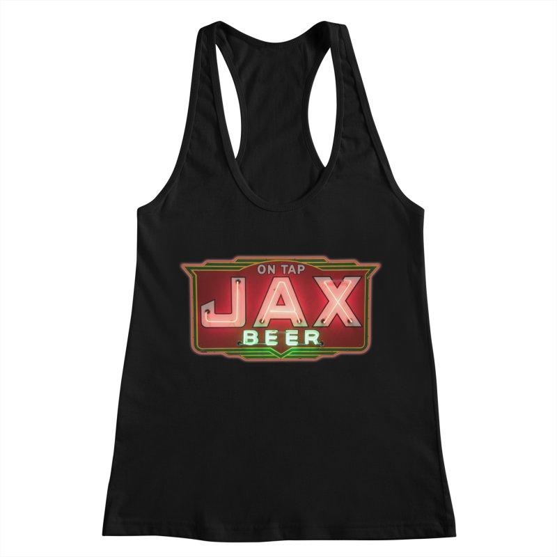 Jax Beer on Tap Vintage Neon Sign Jackson Brewery New Orleans Brewerania Women's Racerback Tank by Fringe Walkers Shirts n Prints