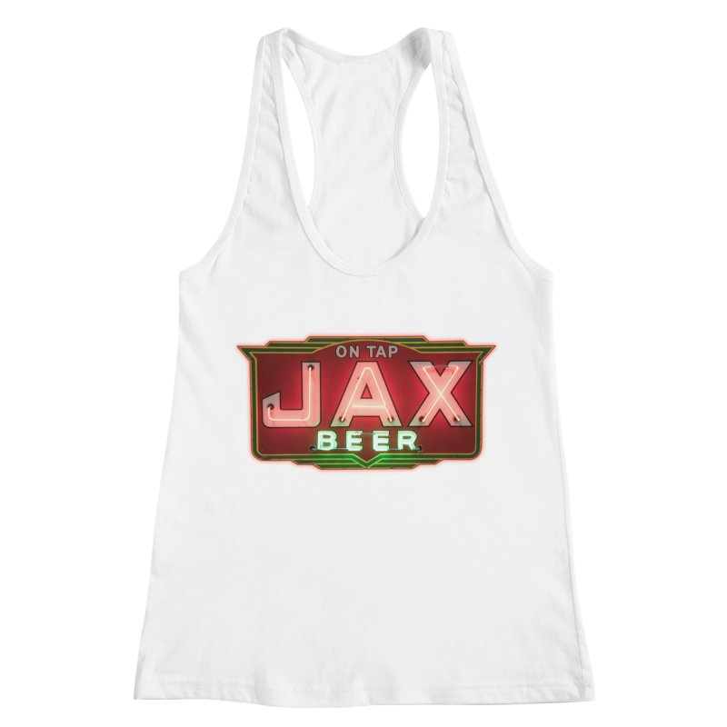 Jax Beer on Tap Vintage Neon Sign Jackson Brewery New Orleans Brewerania Women's Racerback Tank by Fringe Walkers Shirts n Prints