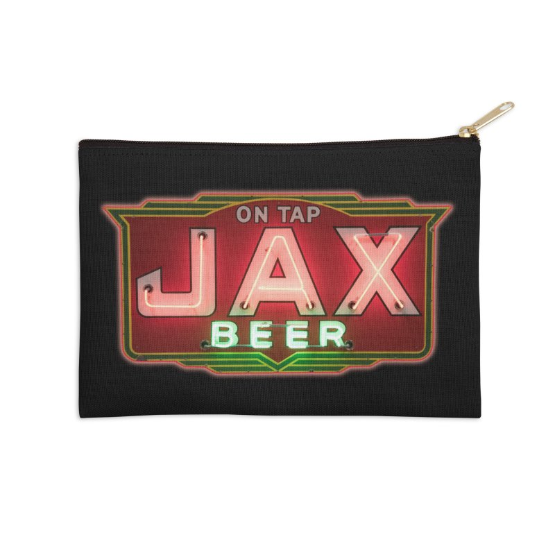 Jax Beer on Tap Vintage Neon Sign Jackson Brewery New Orleans Brewerania Accessories Zip Pouch by Fringe Walkers Shirts n Prints