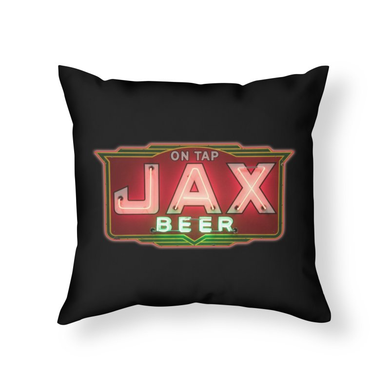 Jax Beer on Tap Vintage Neon Sign Jackson Brewery New Orleans Brewerania Home Throw Pillow by Fringe Walkers Shirts n Prints