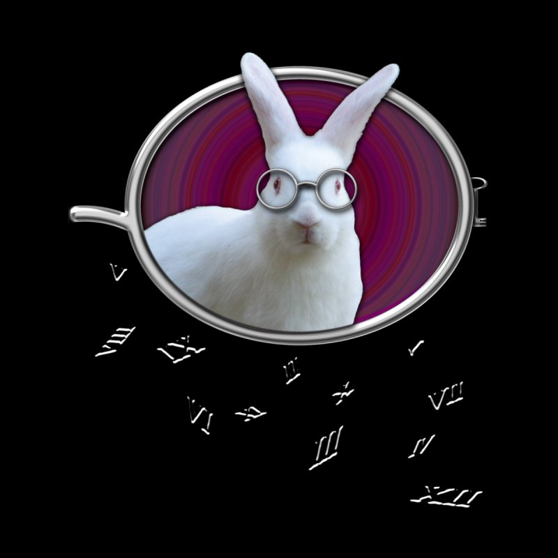 White Rabbit Round Glasses Tunnel Reflection Clock Explosion Key Numerals Time is Relative Men's V-Neck by Fringe Walkers Shirts n Prints