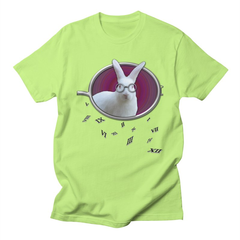 White Rabbit Round Glasses Tunnel Reflection Clock Explosion Key Numerals Time is Relative Men's T-Shirt by Fringe Walkers Shirts n Prints