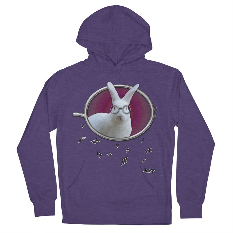 White Rabbit Round Glasses Tunnel Reflection Clock Explosion Key Numerals Time is Relative Men's Pullover Hoody by Fringe Walkers Shirts n Prints