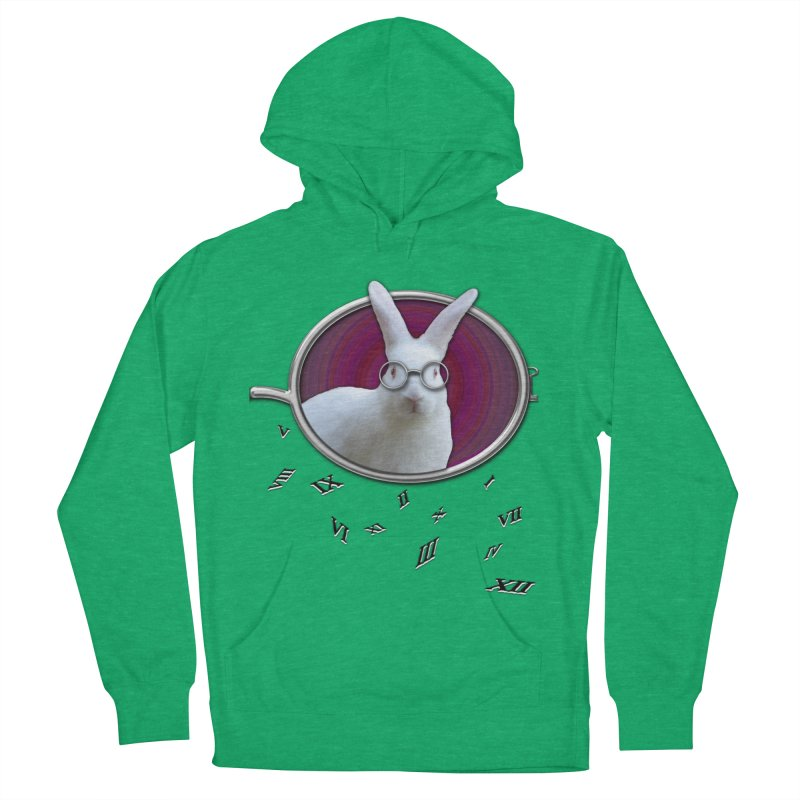 White Rabbit Round Glasses Tunnel Reflection Clock Explosion Key Numerals Time is Relative Men's French Terry Pullover Hoody by Fringe Walkers Shirts n Prints