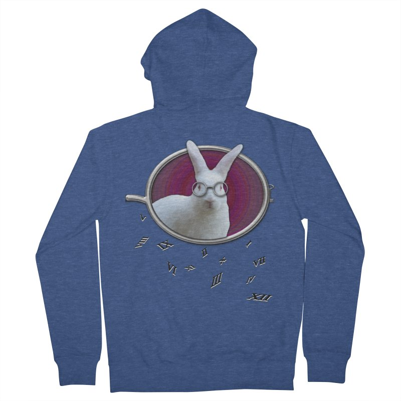 White Rabbit Round Glasses Tunnel Reflection Clock Explosion Key Numerals Time is Relative Men's Zip-Up Hoody by Fringe Walkers Shirts n Prints