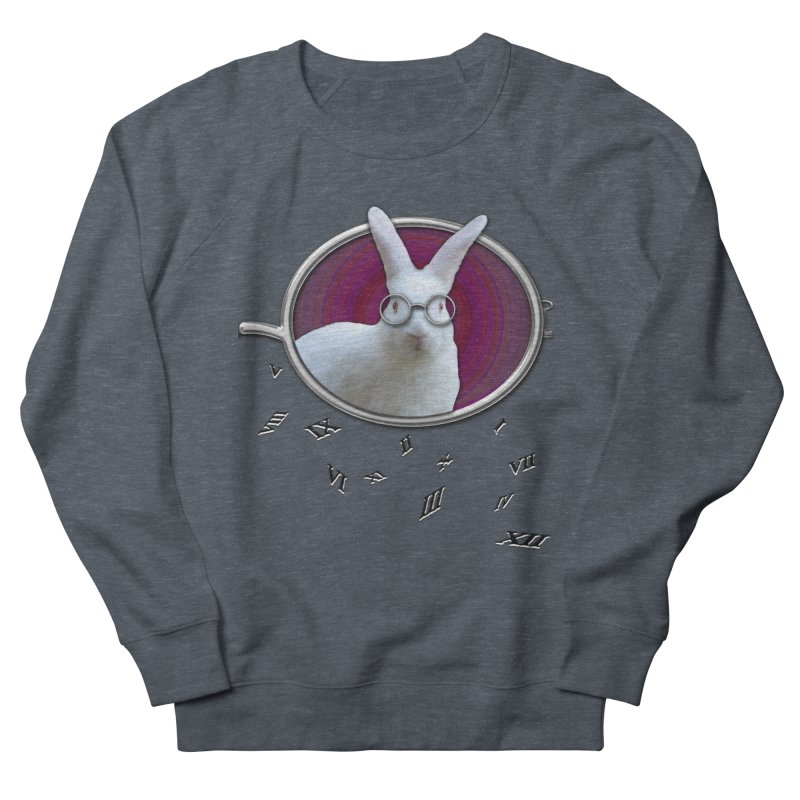 White Rabbit Round Glasses Tunnel Reflection Clock Explosion Key Numerals Time is Relative Women's French Terry Sweatshirt by Fringe Walkers Shirts n Prints