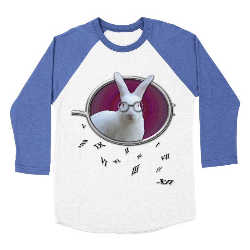 White Rabbit Round Glasses Tunnel Reflection Clock Explosion Key Numerals Time is Relative Men's Baseball Triblend Longsleeve T-Shirt by Fringe Walkers Shirts n Prints
