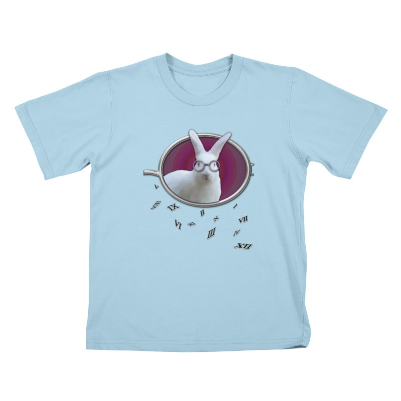 White Rabbit Round Glasses Tunnel Reflection Clock Explosion Key Numerals Time is Relative Kids T-Shirt by Fringe Walkers Shirts n Prints