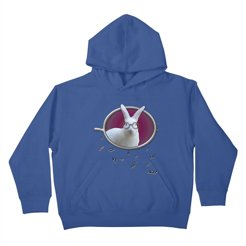 White Rabbit Round Glasses Tunnel Reflection Clock Explosion Key Numerals Time is Relative Kids Pullover Hoody by Fringe Walkers Shirts n Prints