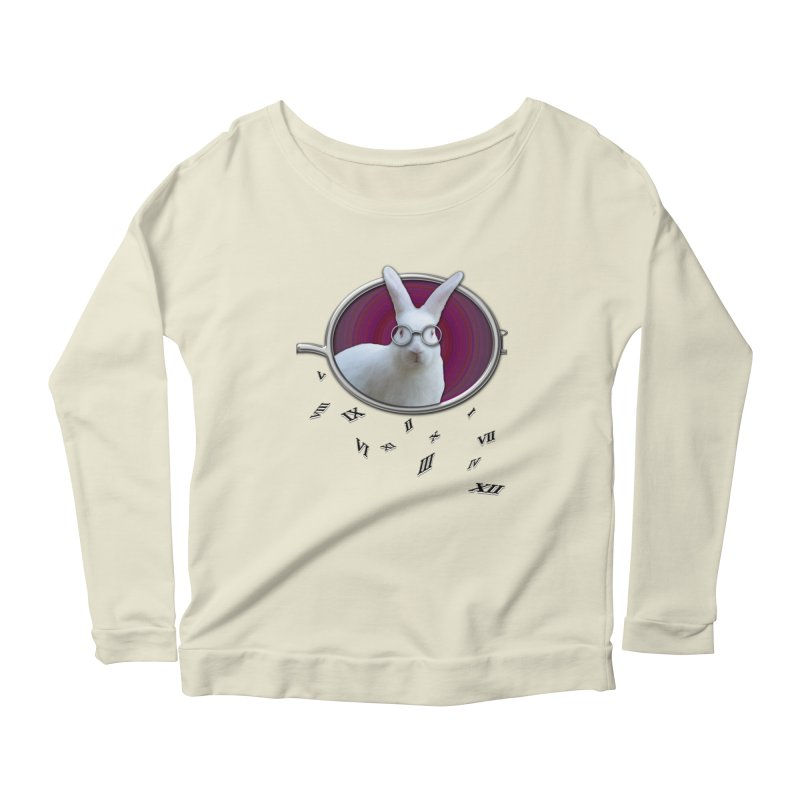 White Rabbit Round Glasses Tunnel Reflection Clock Explosion Key Numerals Time is Relative Women's Scoop Neck Longsleeve T-Shirt by Fringe Walkers Shirts n Prints