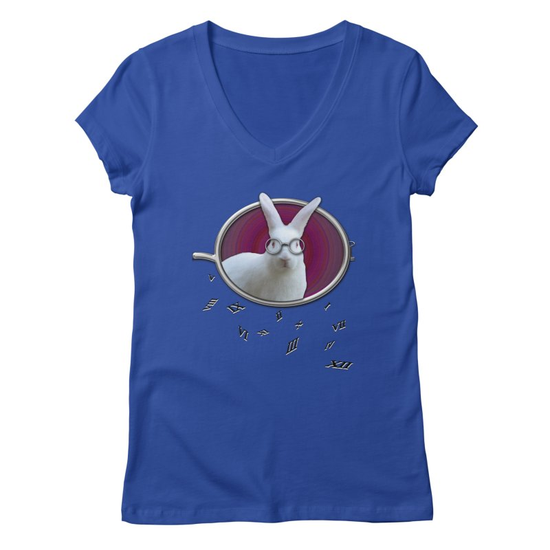 White Rabbit Round Glasses Tunnel Reflection Clock Explosion Key Numerals Time is Relative Women's Regular V-Neck by Fringe Walkers Shirts n Prints