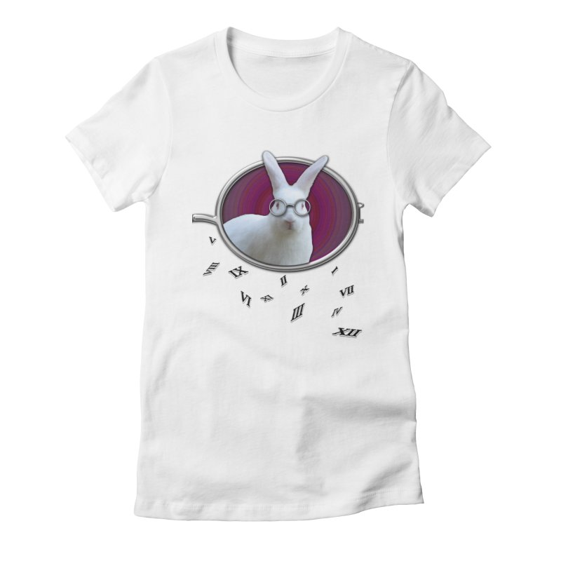 White Rabbit Round Glasses Tunnel Reflection Clock Explosion Key Numerals Time is Relative Women's T-Shirt by Fringe Walkers Shirts n Prints