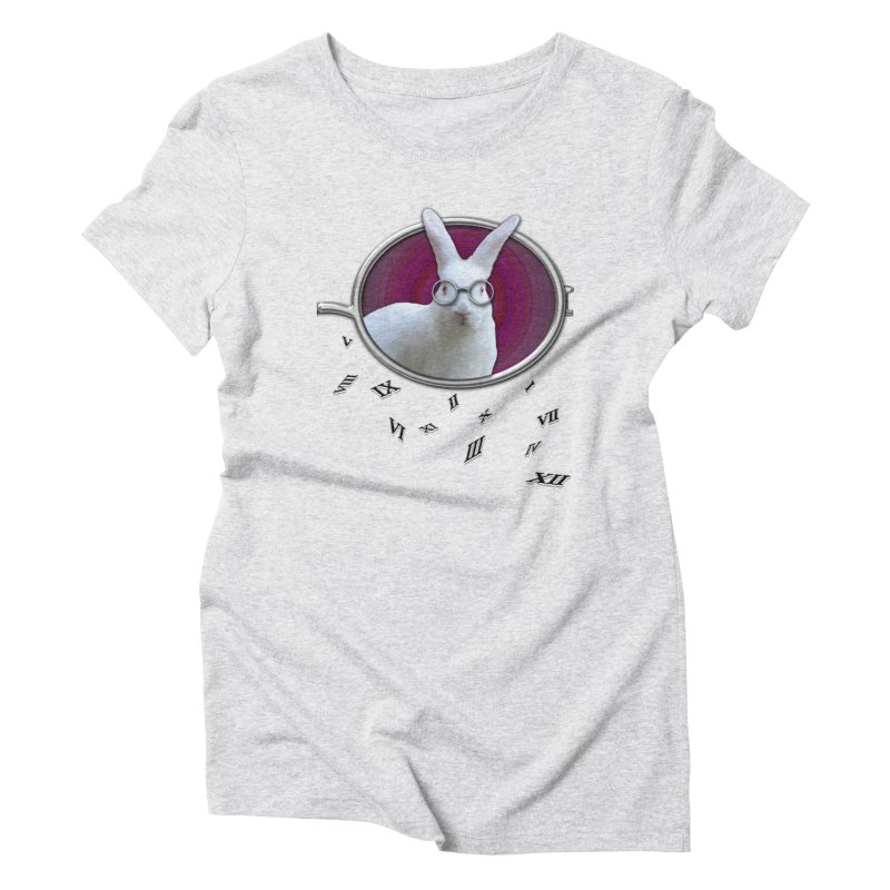 White Rabbit Round Glasses Tunnel Reflection Clock Explosion Key Numerals Time is Relative Women's Triblend T-Shirt by Fringe Walkers Shirts n Prints