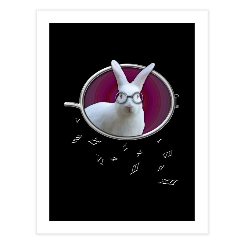 White Rabbit Round Glasses Tunnel Reflection Clock Explosion Key Numerals Time is Relative Home Fine Art Print by Fringe Walkers Shirts n Prints