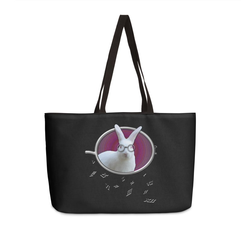 White Rabbit Round Glasses Tunnel Reflection Clock Explosion Key Numerals Time is Relative Accessories Weekender Bag Bag by Fringe Walkers Shirts n Prints