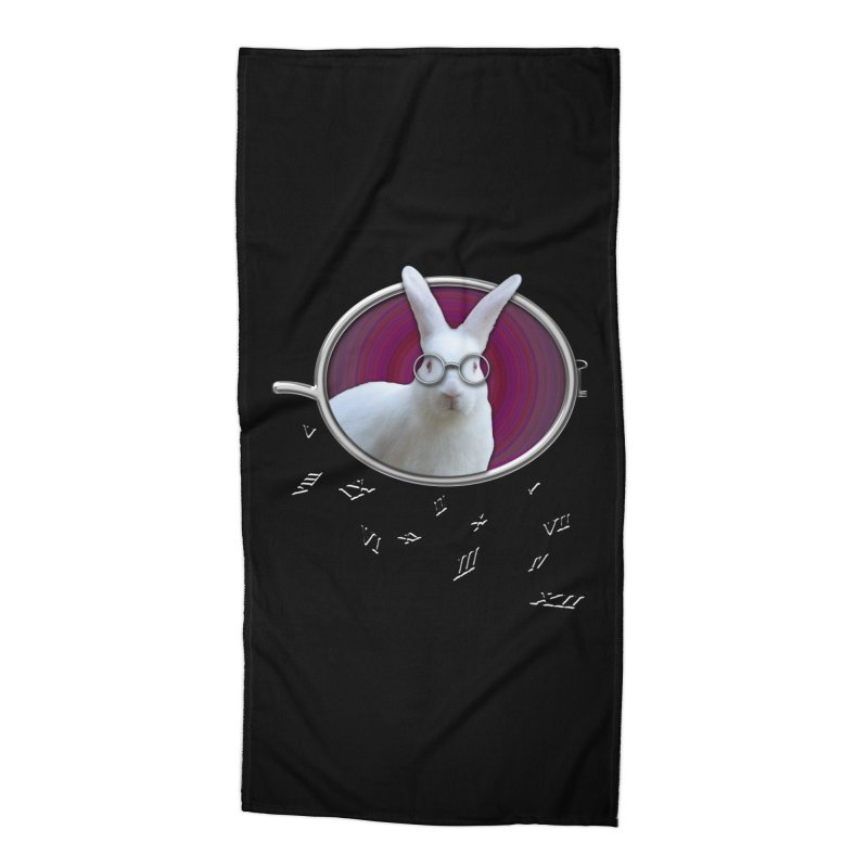 White Rabbit Round Glasses Tunnel Reflection Clock Explosion Key Numerals Time is Relative Accessories Beach Towel by Fringe Walkers Shirts n Prints