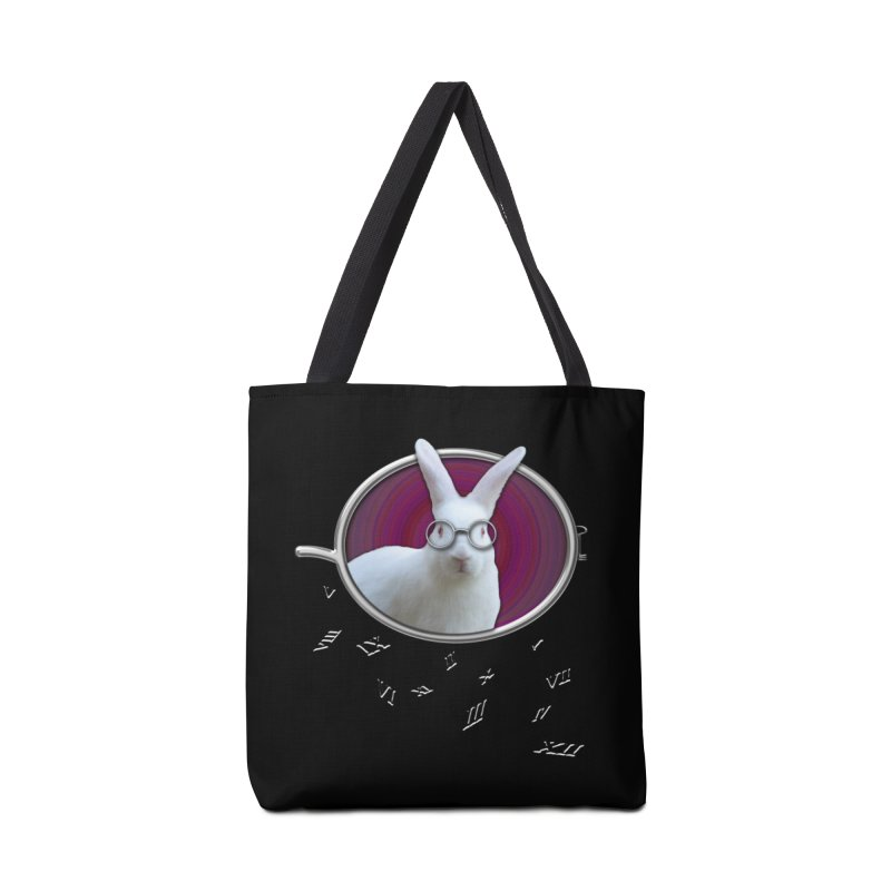 White Rabbit Round Glasses Tunnel Reflection Clock Explosion Key Numerals Time is Relative Accessories Tote Bag Bag by Fringe Walkers Shirts n Prints