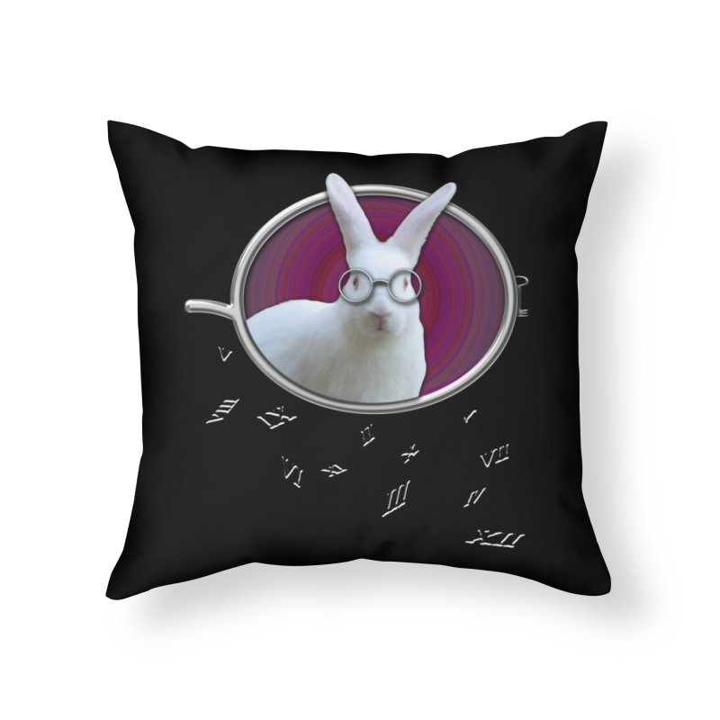 White Rabbit Round Glasses Tunnel Reflection Clock Explosion Key Numerals Time is Relative Home Throw Pillow by Fringe Walkers Shirts n Prints