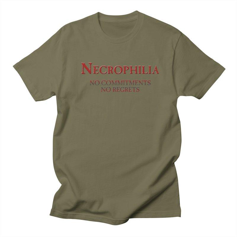 Necrophilia No Commitments No Regrets Stiff Humor Unique Eclectic and Creeptastic Men's Regular T-Shirt by Fringe Walkers Shirts n Prints