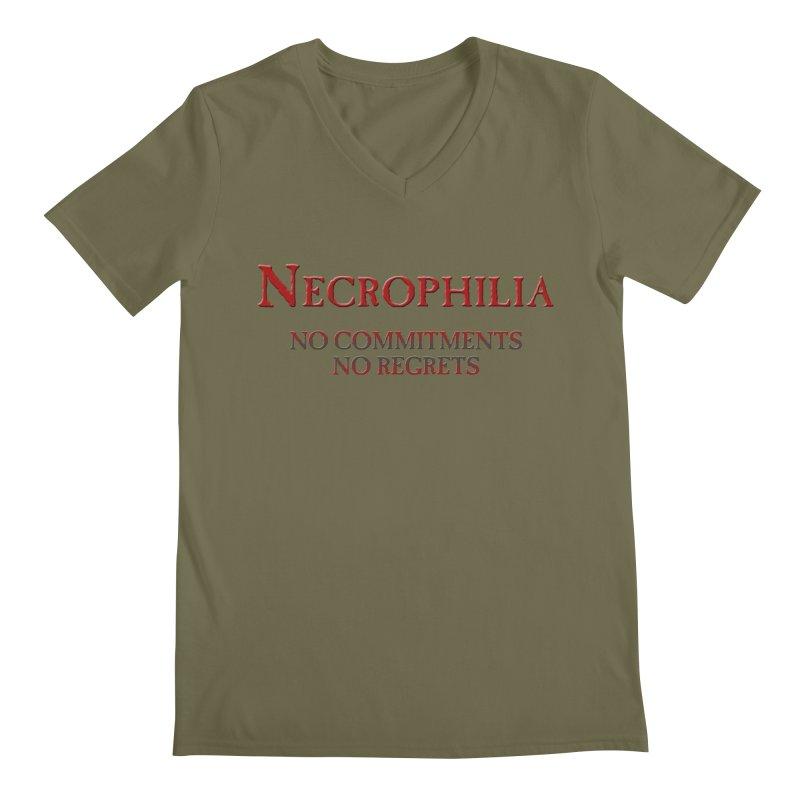 Necrophilia No Commitments No Regrets Stiff Humor Unique Eclectic and Creeptastic Men's V-Neck by Fringe Walkers Shirts n Prints
