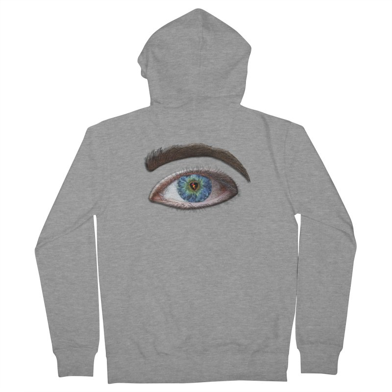 When you see the world through a broken heart Blue Green eye sadness empathy humanism love Men's French Terry Zip-Up Hoody by Fringe Walkers Shirts n Prints