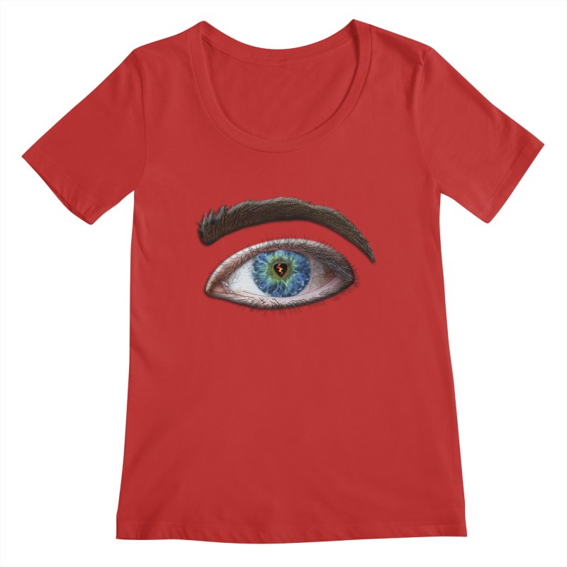 When you see the world through a broken heart Blue Green eye sadness empathy humanism love Women's Regular Scoop Neck by Fringe Walkers Shirts n Prints